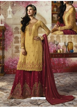 Cream Embroidered Satin Georgette Designer Sarara Suit