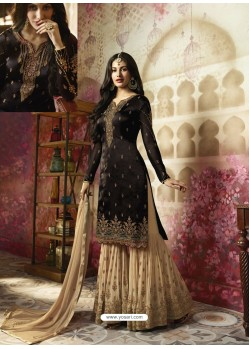 Black Embroidered Satin Georgette Designer Sarara Suit