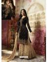Black Embroidered Satin Georgette Designer Sarara Suit