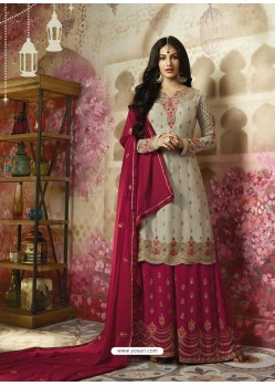 Grey Embroidered Satin Georgette Designer Sarara Suit