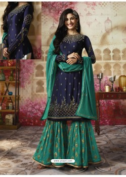 Navy Blue Embroidered Satin Georgette Designer Sarara Suit