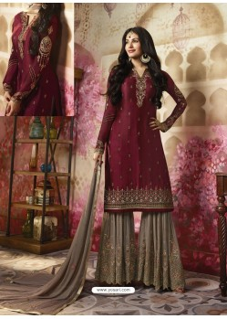 Maroon Embroidered Satin Georgette Designer Sarara Suit