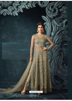 Olive Green Net Heavy Embroidered Designer Anarkali Suit