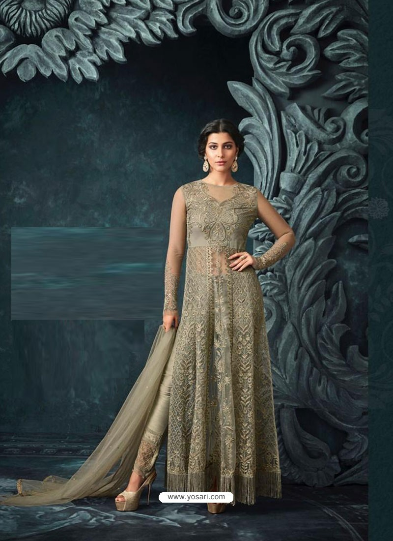 3e00b7689a Buy Olive Green Net Heavy Embroidered Designer Anarkali Suit ...