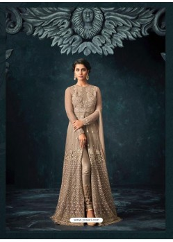 Light Brown Net Heavy Embroidered Designer Anarkali Suit