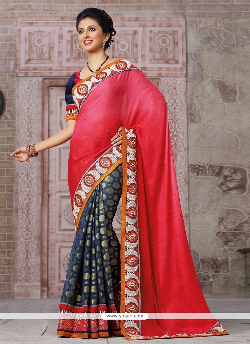 Navy Blue And Red Viscose Wedding Saree