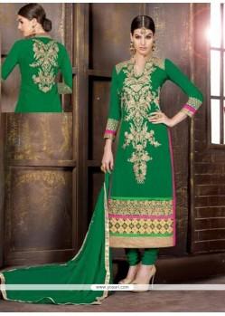 Pleasant Green Georgette Churidar Suit