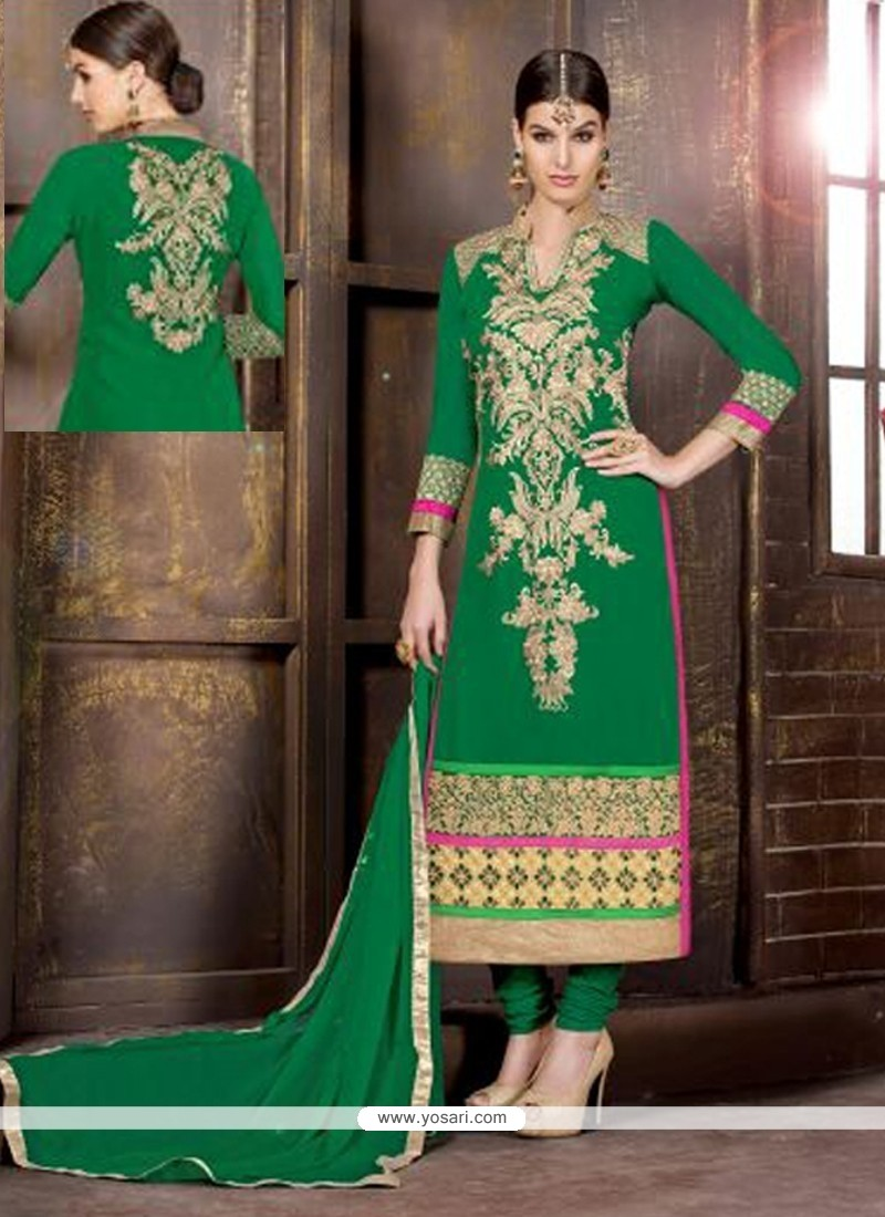 Pleasant Green Georgette Churidar Suit