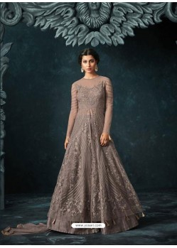 Silver Net Heavy Embroidered Designer Anarkali Suit