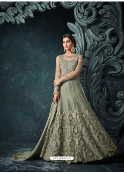 Green Net Heavy Embroidered Designer Anarkali Suit