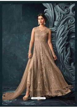 Golden Net Heavy Embroidered Designer Anarkali Suit