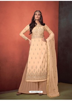 Light Beige Faux Georgette Hand Embroidered Designer Palazzo Suit