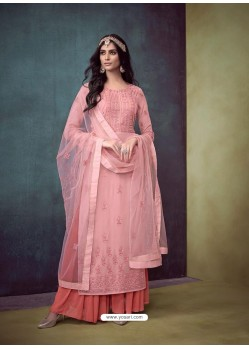 Pink Faux Georgette Hand Embroidered Designer Palazzo Suit