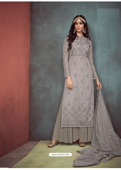 Grey Faux Georgette Hand Embroidered Designer Palazzo Suit