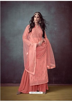 Light Red Faux Georgette Hand Embroidered Designer Palazzo Suit