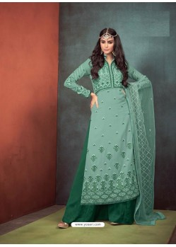 Dark Green Faux Georgette Hand Embroidered Designer Palazzo Suit