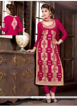 Dazzling Magenta Embroidery Work Churidar Suit