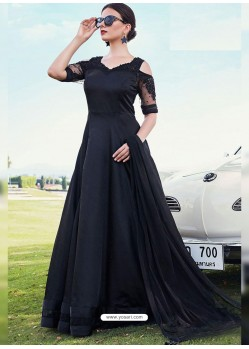 Black Silk Net Embroidered Designer Gown Style Suit