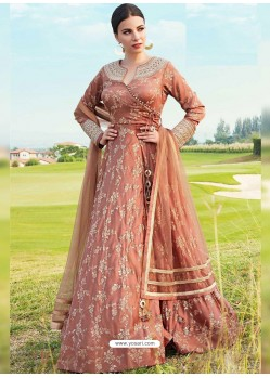 Rust Silk Embroidered Designer Gown Style Suit