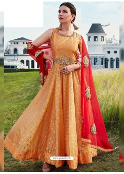 Mustard Silk Embroidered Designer Gown Style Suit