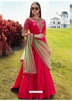 Fuchsia Silk Embroidered Designer Gown Style Suit