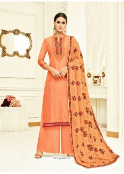 Orange Embroidered Upada Silk Designer Palazzo Suit