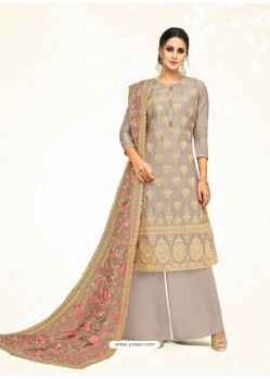 Light Grey Embroidered Upada Silk Designer Palazzo Suit
