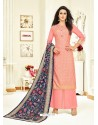 Pink Embroidered Upada Silk Designer Palazzo Suit