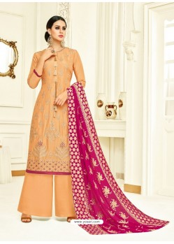 Light Orange Embroidered Upada Silk Designer Palazzo Suit