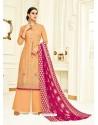 Light Orange Embroidered Upada Silk Designer Palazzo Suit