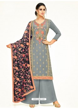 Grey Embroidered Upada Silk Designer Palazzo Suit