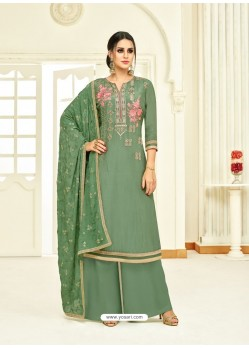 Mehendi Embroidered Upada Silk Designer Palazzo Suit
