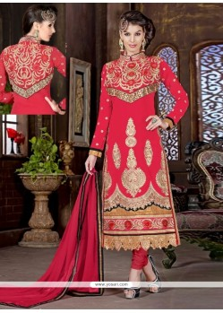 Latest Hot Pink Georgette Churidar Salwar Suit