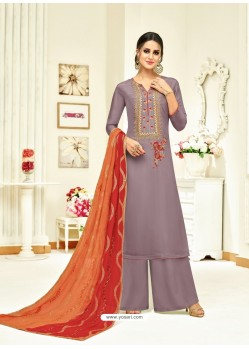Lavender Embroidered Upada Silk Designer Palazzo Suit