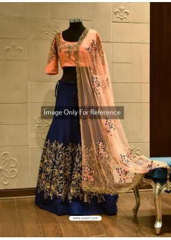 Peach And Navy Blue Silk Zari Embroidered Designer Wedding Lehenga Choli