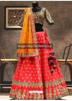 Dark Peach And Green Phantom Silk Zari Embroidered Designer Wedding Lehenga Choli