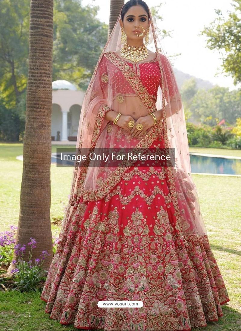 0490b256cde Buy Crimson Nylon Satin Heavy Embroidered Designer Wedding Lehenga ...