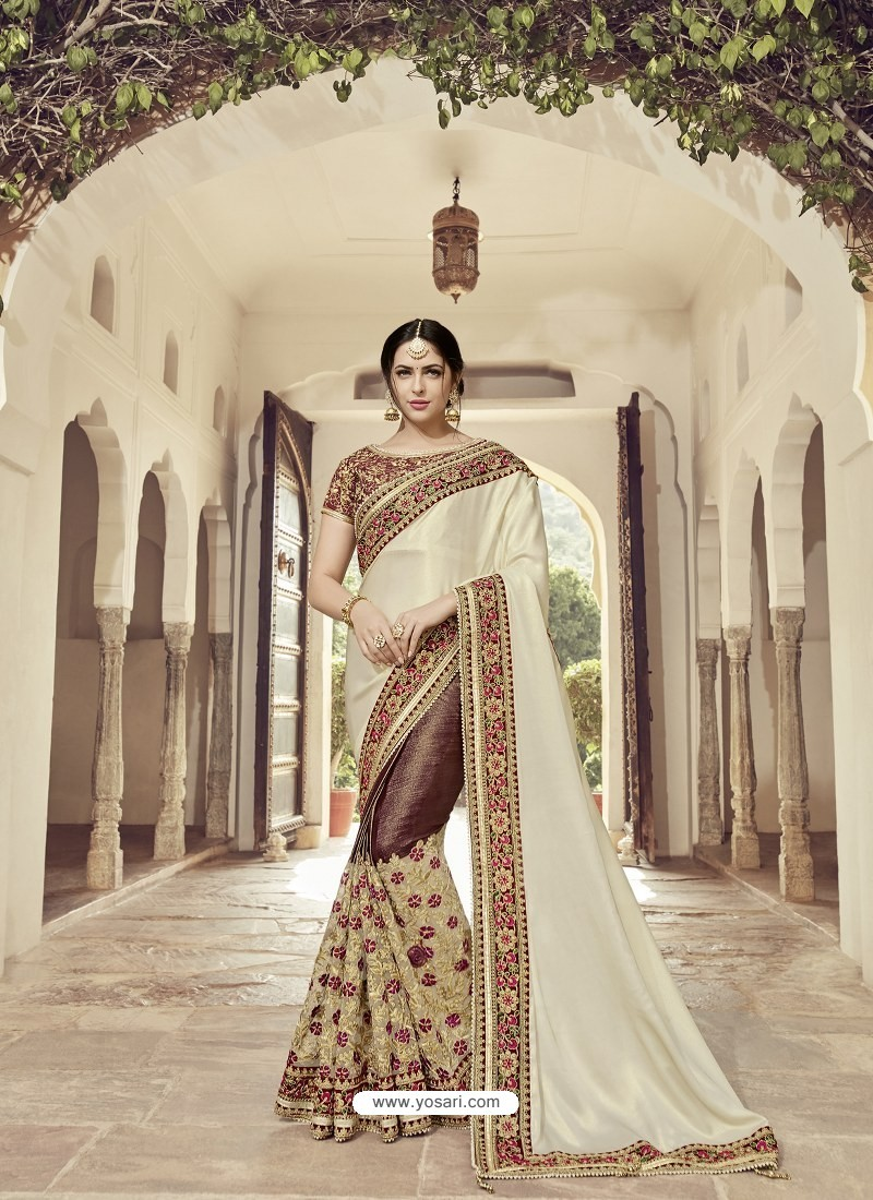 4b7ae46f2cb33a Buy Off White And Brown Satin Georgette Embroidered Designer Wedding ...
