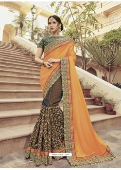 Orange And Brown Two Tone Satin Georgette Embroidered Designer Wedding Saree