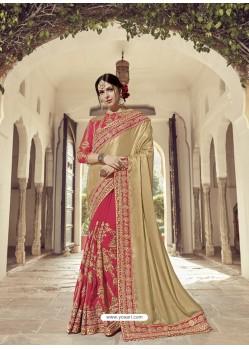 Beige And Dark Peach Two Tone Satin Glitter Embroidered Designer Wedding Saree
