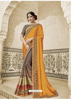 Orange And Coffee Two Tone Silk Fabrics Embroidered Designer Wedding Saree