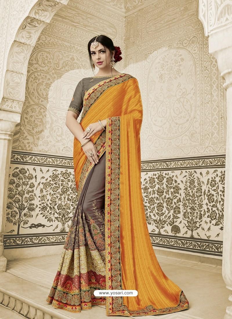 e89292f4730b9 Orange And Coffee Two Tone Silk Fabrics Embroidered Designer Wedding Saree