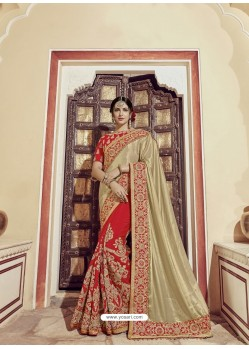Gold And Red Glitter Lycra Embroidered Designer Wedding Saree