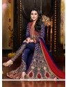 Karishma Kapoor Blue Embroidery Work Pant Style Suit