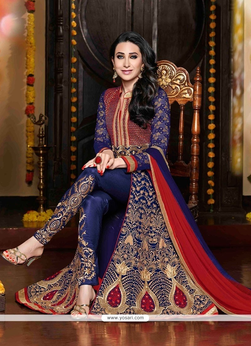 Karishma Kapoor Blue Embroidery Work Pant Style Suit