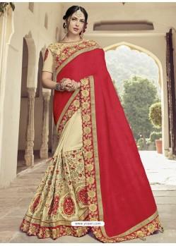 Red And Cream Two Tone Silk Fabrics Georgette Embroidered Designer Wedding Saree