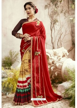 Red And Multi Georgette Embroidered Designer Fancy Saree