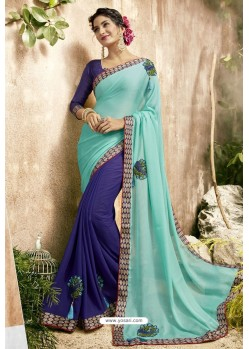 Sky Blue And Navy Georgette Embroidered Designer Fancy Saree