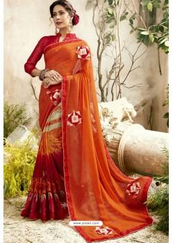 Orange Georgette Embroidered Designer Fancy Saree