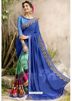 Blue Georgette Embroidered Designer Fancy Saree